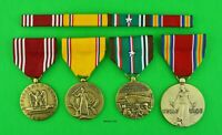 4 WWII Army Medals & Ribbon Bar Good Conduct American Defense, European, Victory