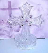 Beautiful Lenox Full Lead Crystal Tea Light Cross, Made in Germany, 1 lb., 13 oz