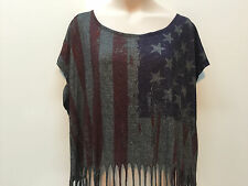 Forever 21 Teen 4th Of July USA Flag Crop Top Size M 16 Fringes