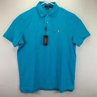 Polo Ralph Lauren Mens Classic Fit Mesh Short Sleeve Polo Shirt Blue L