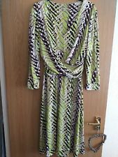 M & Co Autumnal Dress,chocolate/lime/taupe/cream,size 16,Fit & flare Vgc