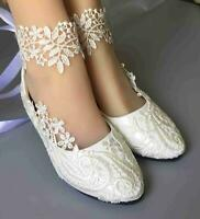 white NEW lace crystal Wedding shoes Bridal heels pumps size 35-40