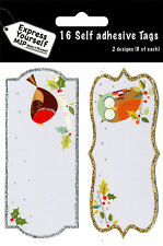 Robin & Owl Christmas Gift Tags Pack Of 16 Self Adhesive Stick On Tags