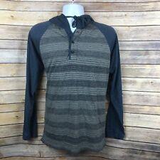 RVCA Mens Hoodie Shirt Blue Gray Horizontal Stripe Cotton Blend Light Sz Medium