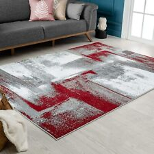 Abstract Modern Area Rug Red Decorative Carpets Basement Large Soft Rugs On Sale