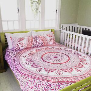 Indian PinkOmbre Mandala Queen Duvet Quilt Cover Bedding Ethnic Boho Blanket Set