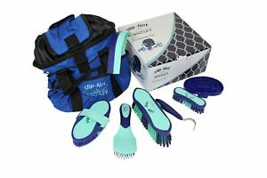 Bentley Deluxe 8pc Equestrian Horse Grooming Kit Boxed Mint & Navy Brush