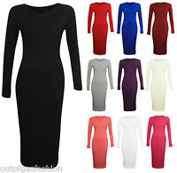 NEW WOMENS LADIES PLAIN STRETCH JERSEY LONG SLEEVES MIDI DRESS BODYCON 8-14