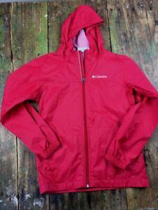 N6 Red Kids M 10/12 Columbia Windbreaker Lightweight Jacket Unlined Nylon hood