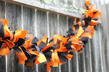 Orange black fabric & tulle Mix Rag handmade Garland 5ft long Perfect For Mantle