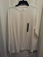 Mens-2XL-White-T-Shirt-Solid-Crew-Neck-Cotton-Spandex-New-White-Core-Long-Sleeve