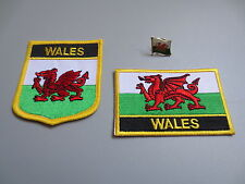 Set of  Embroidery Flag Patch and Badge shield Patch and Lapel pin WALES