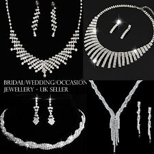 UK Bridal Wedding Occasion Crystal Jewelry Sets Diamante Necklace & Earring Sets