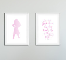 Moana Girls Bedroom Prints / Pictures Set of 2 / Childs Decor Ideas / Pink