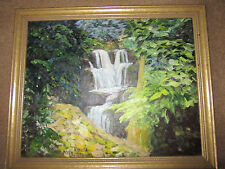 VINTAGE mountain river waterfall landscape hand painted original oil PAINTING
