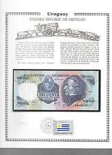 Uruguay 50 Pesos 1981 P61c UNC  w/FDI UN FLAG STAMP Serie D