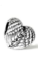 Heart Charm Bead Gaurdian Angel Feathers Wings Heart Charm For Bracelets CH10