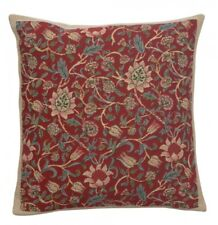 Tapestry Throw Pillow Cover 16x16 Floral William Morris Red Woven Euro Jacquard