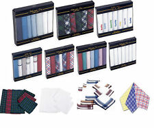 100% COTTON HANDKERCHIEFS HANKIES HANKYS MENS Quality Gift of 3/7/12 LOT CHOICES