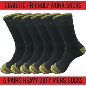 6 Pairs Mens Diabetic Friendly Heavy Duty Work Socks Wide Top Cushioned UK6-11