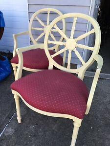Vintage Arm Chairs By Hickory Chair Co. Victorian Web Back Pair