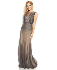 NWOT graphite & taupe  Adrianna Papell Beaded sequins Mermaid  Mesh  Gown size 8