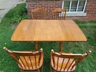 Antique TELL CITY #862 Drop-Leaf Maple Wood Kitchen Table & 4 #8020 Chairs