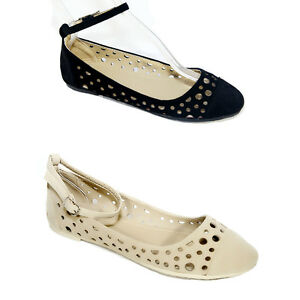 New Women Ladies Suede  Ankle Strap Ballet flat Shoes #2897