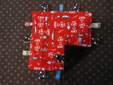 Red Dr Seuss/Cat in the Hat Flannel/Minky Baby Tag Ribbon Security Blanket