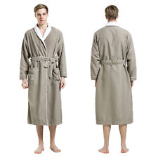 LOEWS Grey Green Microfiber Men's SPA Robe Bathrobe - White Coral Velvet Lining