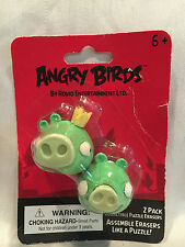 2 Pak Green King Pig Angry Birds Collectible Puzzle Erasers Assemble Like Puzzle