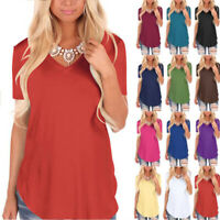 Women Summer Short Sleeve V Neck Solid Blouse Casual Loose T Shirt Tunic Tops