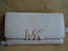 NWT MICHAEL KORS FLORENCE BILLFOLD VANILLA Leather Wallet Purse $168