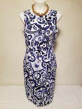 LAUREN RALPH LAUREN Blue & White Print Dress Size 14