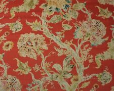 "BALLARD DESIGNS RAYNA CORAL RED FLORAL 100% LINEN DESIGNER FABRIC BY YARD 54""W"