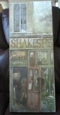 """RUANE MANNING Shakespeare Print """"Storefront"""" mounted with burlap wrap"""