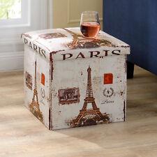 """en.casa® Tabouret """"Paris"""" 38x38x38cm pouf rangement tabouret coffre"""