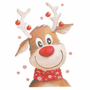 CUTE CHRISTMAS REINDEER  A5  IRON ON T SHIRT TRANSFER