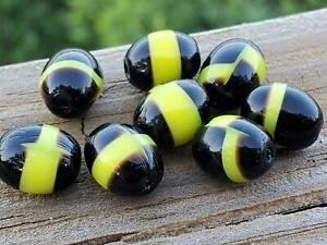 8 Vintage Glass Black Glass Beads with Band of Bright Yellow DIY Jewelry Making