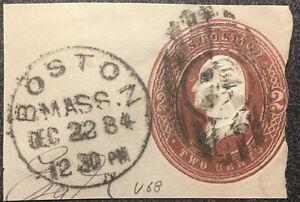 Scott #U68 US 1884 2 Cents Postage Envelope Stamp