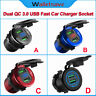 QC 3.0 Dual USB Fast Car Charger Socket Outlet W/Voltmeter For Car Waterproof US