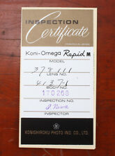 KONICA INSPECTION CERTIFICATE AND WARRANTY CARD FOR RAPID OMEGA M/189568