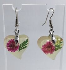 Large Pink Green Real Flower Earrings Resin Cast  Bright Silver Plt D351 Heart