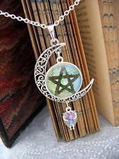 Pentacle Necklace Pagan Wicca Moon Fantasy Silver Pendant Celtic Owl Pentagram