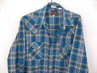 PLAINS WESTERN TALL MAN Rockabilly Snap Up L/S Button Shirt Blue Plaid Mens XLT