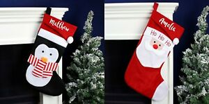 Personalised Name Only Penguin or Santa Christmas Stocking Choose Design