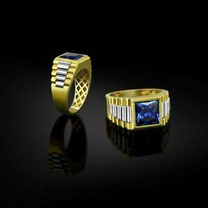 Geometric Signet Square Men's Ring in 18k Two-Tone Gold Over with Blue Sapphire