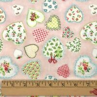 2.5 Yds Pink Hearts Cotton Flannel Fabric Claire Murray Baby Girl Crib Quilting