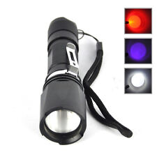 Adjustable White Red UV Light 3X XPE LED Zoomable Flashlight Torch Hunting Lamp