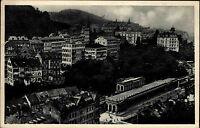 Karlsbad Karlovy Vary Tschechien s/w AK 1947 gelaufen Gesamtansicht Trinkhalle